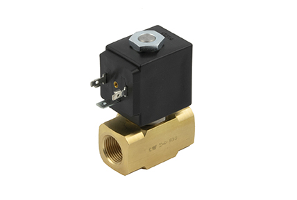 2-way solenoid valve, direct control, brass or stainless steel body.