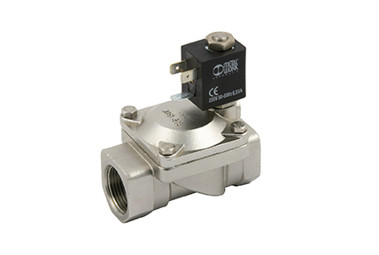 2-way servo-assisted solenoid valve, diaphragm, brass or stainless steel body.